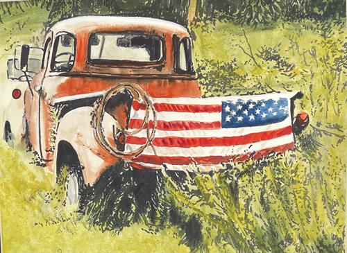 Watercolor Old Glory by Bobby Walters