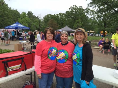 Judy Rogers, Lyn Howell and Christy Jones at the Shelby 5K Run, Flowood, MS.