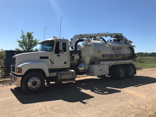 Our Vacuum Truck with boom for large industrial jobs.