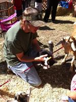 Randal with kitten and goats