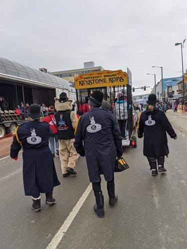 Kiwanians aka Keystone Kops in Fur Rondy parade