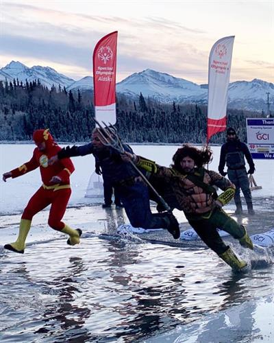 Our employees jumping in the 2019 Special Olympics Alaska Polar Plunge!