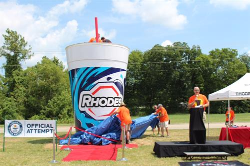 Rhodes has a unique claim to fame.  It broke the Guinness World Record for largest cup of soft drink on August 20, 2017.