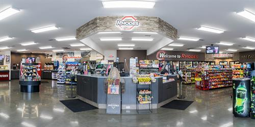 Rhodes' newest interior store concept highlight its vast array of products including fresh food items.