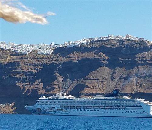 Cruising to Santorini Greece was a bucket list adventure. (NCL Spirit)