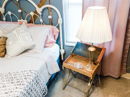 Feminine bedroom antique school desk night stand