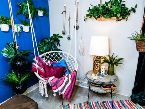 Reading nook swinging chair