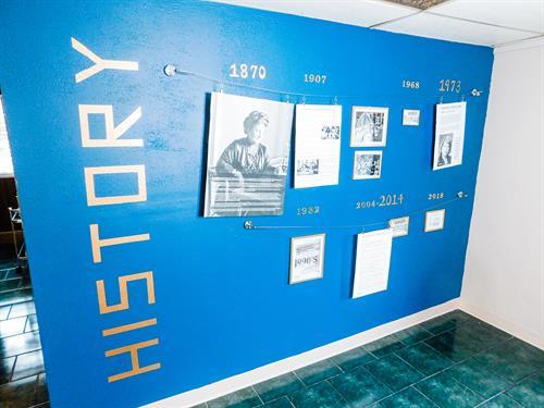 History wall of the building, including the Cape Girardeau Montessori School