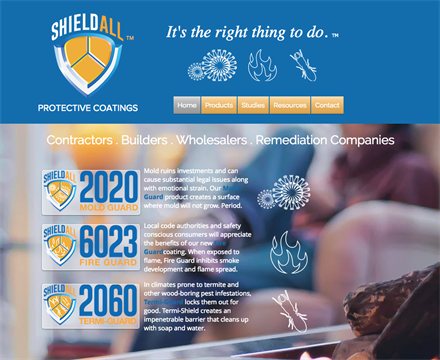 Shield All Protective Coatings branding and web and sales support