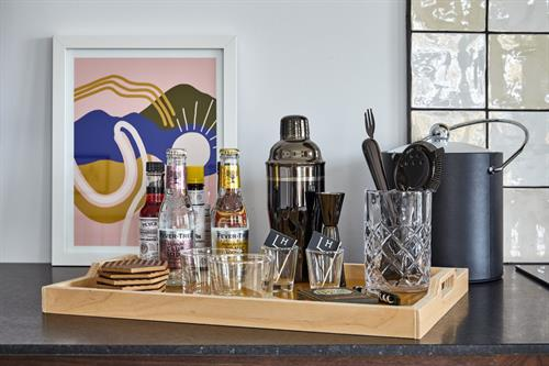 Full bar tools and bitters in all rooms