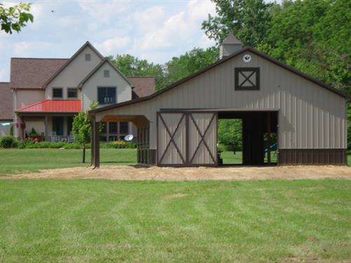 36x48 Horse Stall Barn with 10' Lean To