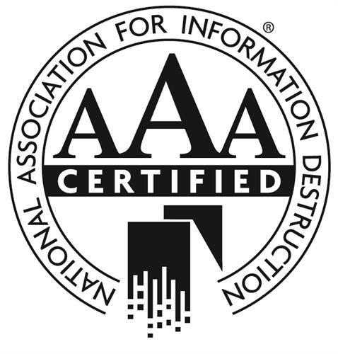 Certified thru the National Association for Information Destruction