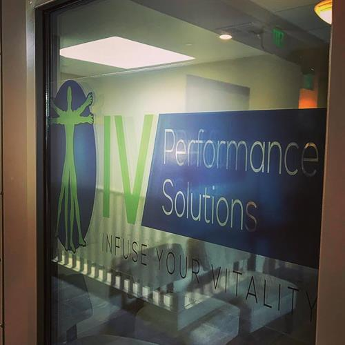 Look at this window decal we did for Danville's own IV Performance Solutions