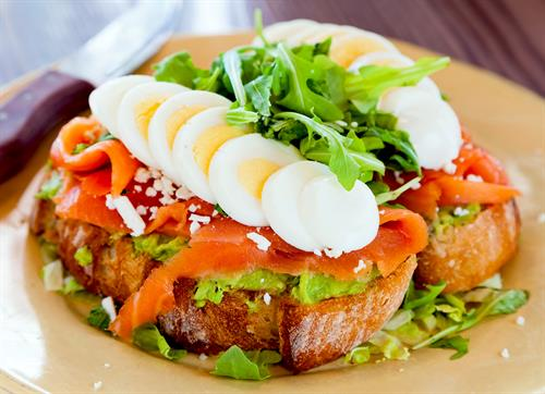 Avocado Toast with smoked salmon & eggs
