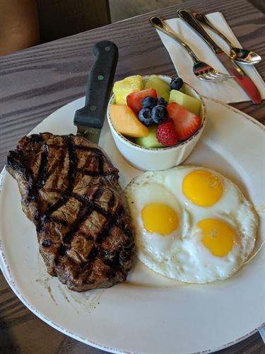 Egg Favorites - NY Steak & Eggs with side of fruit