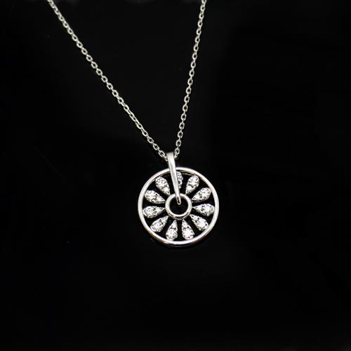 The movement in this pinwheel pendant gives even more sparkle to the diamonds.