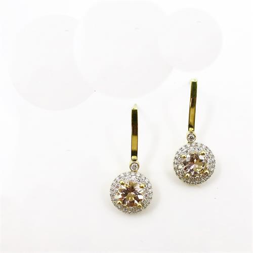 Morganite and diamond dangles.