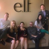 This is a picture of e.l.f. corporate office with their new swell water bottles that Promotional Edge imprinted with the el.f. logo and then employees initials lasered on the caps.