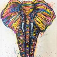 Eclectic Elephant- Rainbow acrylic masterpiece of a male African Elephant