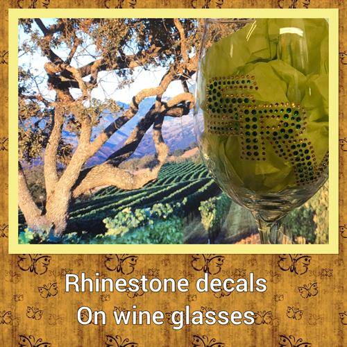 Custom rhinestone wine glasses