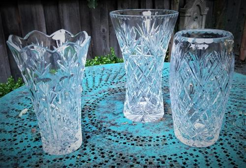 Cut Glass and Pressed Glass Vases