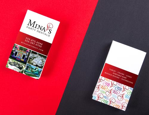 MIna's Party Rental's Business Card Design