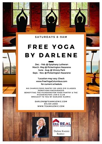 FREE YOGA EVERY SATURDAY MORNING WITH DARLENE!