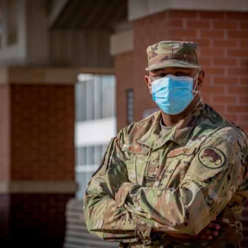 Soldier in mask