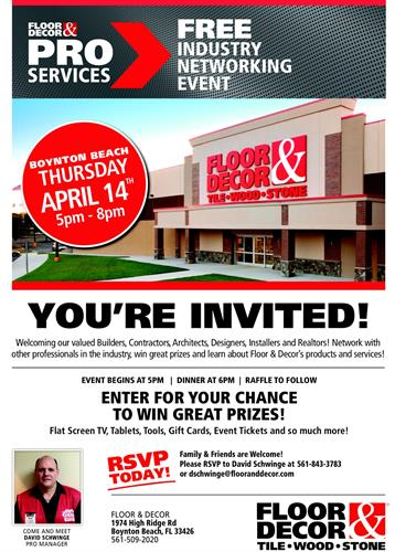 floor and decor u0026 39 s free industry networking event - apr 14  2016