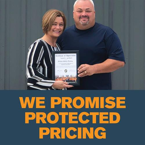 We will protect your pricing for up to 3 years! With no termination fees!