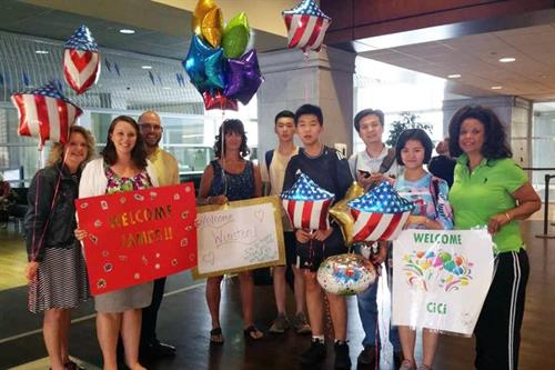 Our local American families love to welcome their host students at the airport upon their arrival to the United States.