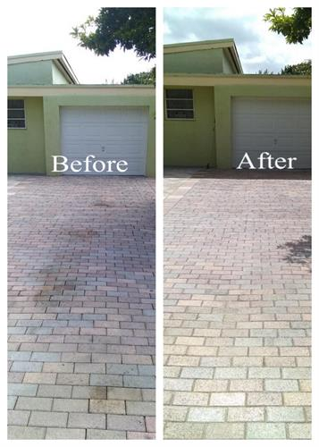 Before & After driveway removal of oil