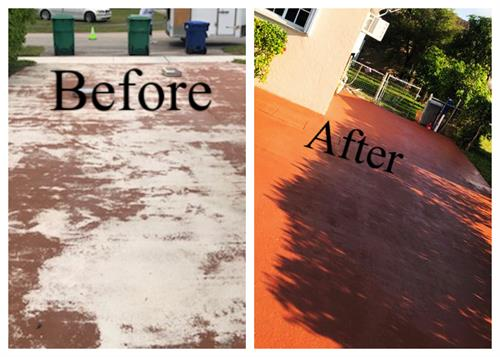 before and after concrete driveway cleaning and panting