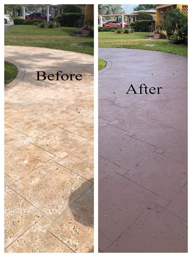 before and after driveway concrete cleaning and panting