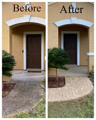 before and after concrete & brick cleaning