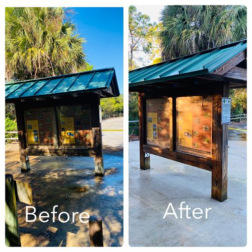 Before & After back of menu stand sanitizing cleaning