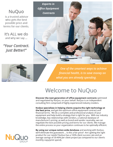 Side One of our NuQuo Group brochure.