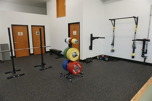 We have 600 square feet devoted strength and conditioning equipment, with full rubber flooring.