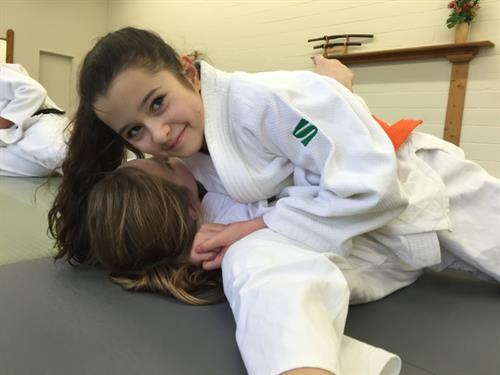 Hannah working on her judo hold downs.