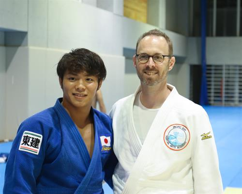 Our Head Instructor, Mr. Martyn in Japan with Mr. Hifumi Abe, World Champion.