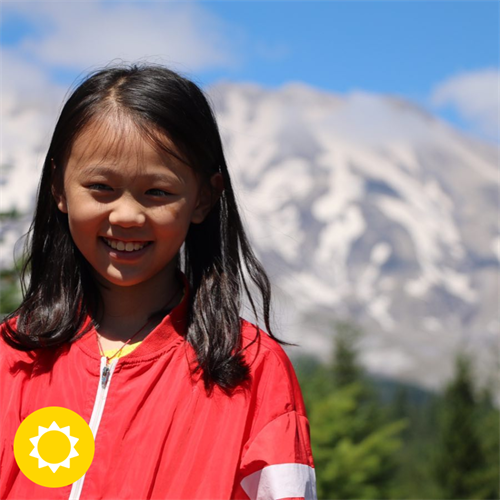 Summit Academy student in front of the beautiful Mt. St. Helens!