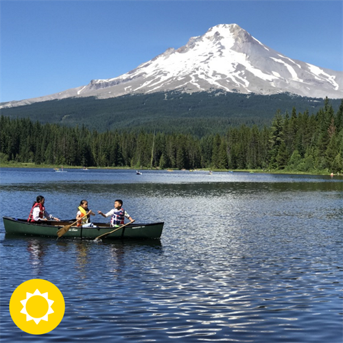 Summit Academy students kayaking for the first time, on Trillium Lake.