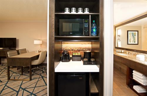 King Bed Suite- Ammenities - Desk, Refrigerator , Microwaver, Bathroom