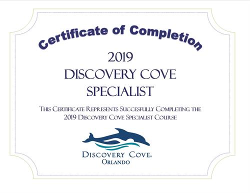 Discovery Cove Specialist Certificate