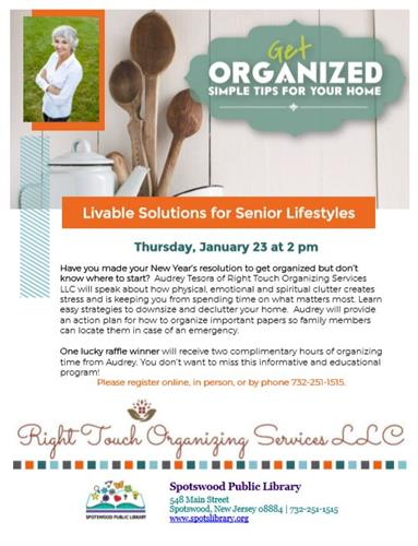 Livable Solutions for Senior Lifestyles / Spotswood Library / 1/23 @ 2:00 pm