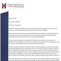 HB 2525 Statement of Support from Partnership Lake Houston