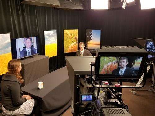 "Live ""On Call with the Prairie Doc"" broadcast in Yeager studio"