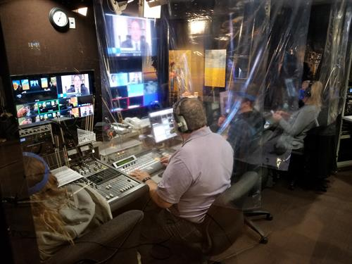 Control room during live broadcast during current pandemic