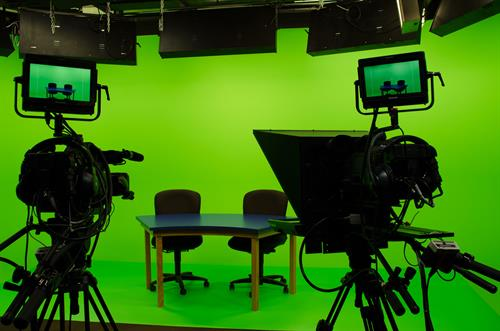 Full green screen and teleprompter capabilities in our multicamera studio