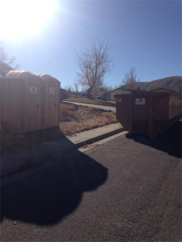 Portable-toilets and dumpsters for construction sites